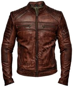 Mens Biker Vintage Antique Brown Cafe Racer Real Leather Jacket in Clothes, Shoes & Accessories, Men's Clothing, Coats & Jackets | eBay!
