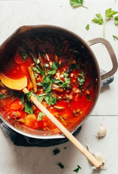 Stirring a big pot of our nourishing Fire-Roasted Tomato Veggie Mung Bean Soup - Vegan! Baker Recipes, Bean Recipes, Soup Recipes, Cooking Recipes, Roasted Tomato Soup, Fire Roasted Tomatoes, Delicious Vegan Recipes, Healthy Recipes, Healthy Soups