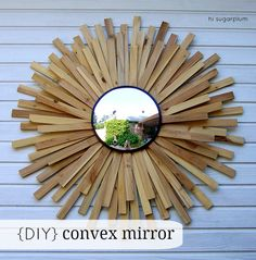 Want to get the look of a sunburst mirror without spending a lot? Get this style on the cheap with inexpensive wood shims from the hardware store, floral rings, and a small convex mirror to create your own starburst convex mirror. Diy Father's Day Gifts, Father's Day Diy, Diy Christmas Gifts, Convex Mirror, Diy Mirror, Mirror Art, Wall Mirrors, Weekend Projects, Cool Diy Projects