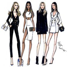 Hayden Williams Fashion Illustrations: Model Behaviour: Cara, Jourdan, Gigi & Kendall by Hayden Williams Dress Illustration, Fashion Illustration Sketches, Fashion Sketchbook, Fashion Sketches, Design Illustrations, Hayden Williams, Justin Williams, Trendy Fashion, Fashion Art