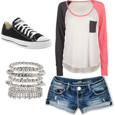 black white and pink color block shirt with jean shorts, silver bracelets and black converse