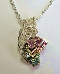 Small Wire-Wrapped Bismuth Crystal Necklace by HeatherJordanJewelry, $69.99