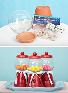Gumball machines made from painted flowerpots, fishbowl and paint. Great idea for Candy themed party favors!