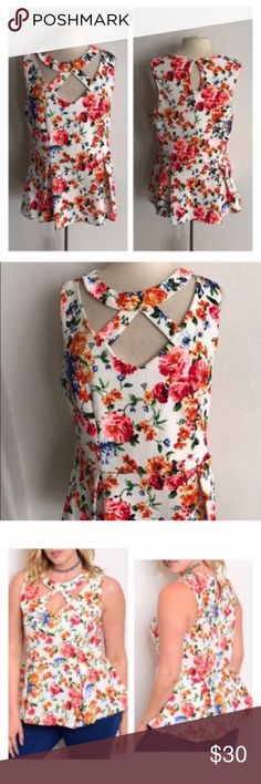 "(Plus) Floral peplum Floral peplum top. 97% polyester/ 3% spandex. Very stretchy and very TTS (I'm a 2x/16 and the 2x fit perfectly). Cutout sections don't show your bra straps. Bust measurements are laying flat and this easily stretches beyond measurements.  1x: L 28"" B 40"" 2x: L 28"" B 42""  3x: L 29"" B 44"" ⭐️This item is brand new without tags Price is firm unless bundled ✅Bundle offers Availability: 1x•3x • 1•1 Tops"