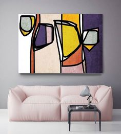 Vibrant Colorful Abstract-013. Mid-Century Modern Pink Purple