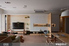 Ruang Keluarga by 耀昀創意設計有限公司/Alfonso Ideas Living Room Vinyl, Living Room Wall Units, Living Room Tv Unit Designs, Living Room Cabinets, Living Room Storage, Home Living Room, Living Room Decor, Small Apartment Interior, Apartment Design