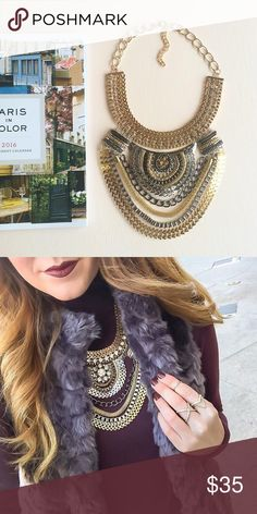 Stunnning statement statement necklace Multi metals statement necklace Hwl boutique Jewelry Necklaces