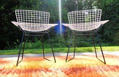 HARRY BERTOIA for KNOLL, PAIR ORIGINAL VINTAGE WIRE CAGE SIDE CHAIRS (SOLD)