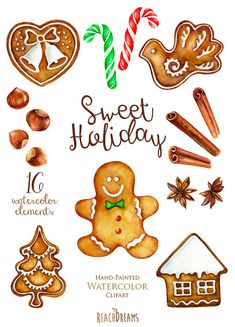 Watercolor Christmas Gingerbreads Candy Canes by ReachDreams