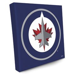 """CANVAS LOGO PRINT - WINNIPEG JETS  Product # NT18660  $39.98 CAD - For any hockey fan, these bright and colourful NHLr logos on premium stretched canvas make the perfect gift!  Liven up your FAN-cave or office with a shout-out to your favourite team.  14""""L x 14""""W"""