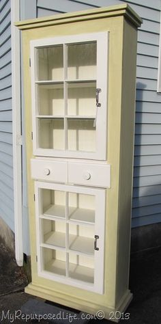 Repurposed Life-built from scratch country cupboard using reclaimed lumber and windows