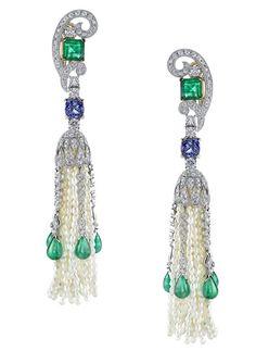 Vanna K Art Deco inspired pearl tassel earrings