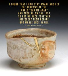 Kintsugi Oriah Mountain Dreamer quote I found that I can do it if I choose to – I can stay awake and let the sorrows of the world tear me apart and then allow the joys to put me back together different from before but whole once again.