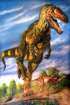 mural airbrush dinosaure