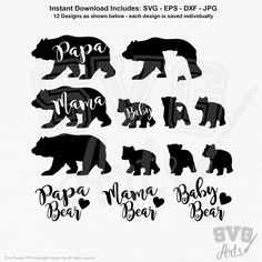 Adorable Mama, Papa, and 3 baby bear graphics plus (see display 2) Mama Bear, Papa Bear, and Baby Bear Scripted Lettering designs. Combine the designs as you like to represent your own family (1, 2, 3 . . . cubs following Mama, Papa . . .) to make your own family decal. Make your own iron-on t-shirts with the bear designs, and/or the scripted text. So many uses, all included in this one purchase. Perfect for use with your digital cutting machines, works well with all software that will ...