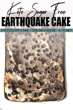 Did you feel the earth move? It's a keto earthquake cake all crazy mixed up chocolate cake and cream cheese filling with pecans coconut and chocolate chips. Easy and fun to make and full of rich sugar-free flavor. Chocolate Molds, Mint Chocolate, Chocolate Chips, Chocolate Cake, Chocolate Filling, Chocolate Covered, Low Carb Desserts, Low Carb Recipes, Dessert Recipes