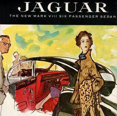 vintage jaguar mark sedan 1956 advertisement by FrenchFrouFrou, $14.95