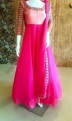 FatimaBi Plus size Dress Mirror work Anarkali Kameez Engagement Pink Salwar Suit
