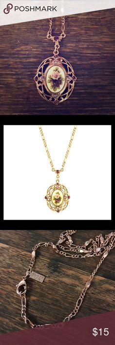 """1928 necklace Manor House rose gold - tone filigree floral oval pendant necklace.  Like new.  28""""L x 2""""H x 1.25""""W. made in the USA.  Swarovski Crystal. 1928 Jewelry Necklaces"""