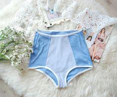 Blue high waisted panties  Woman's lingerie  Wedding