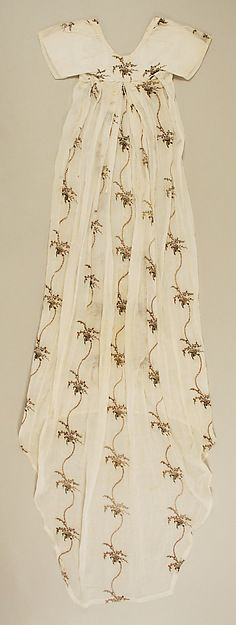 Evening dress Date: ca. 1795 Culture: probably British Medium: cotton, silk