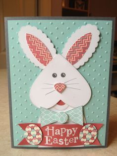 Stampin Up! Easter by Catherine Loves Stamps: Heart Framelits Easter Bunny ! Easter Projects, Easter Crafts, Handmade Birthday Cards, Greeting Cards Handmade, Diy Easter Cards, Handmade Easter Cards, Easter Greeting Cards, Punch Art Cards, Kids Cards