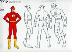 The Flash model sheet from Super Friends cartoon