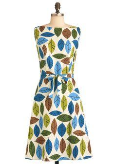 Alluring Acres Dress in Leaves
