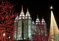 Salt Lake City LDS Temple Grounds, Decorated for Christmas. SLC Utah