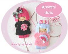 Muñecas fieltro. Pilukas Kokeshi dolls