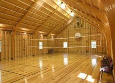 Bank Barn – Bank Barns | KingBarns.com - Interior of barn shown above Basketball, volleyball -- or a barn dance, anyone?