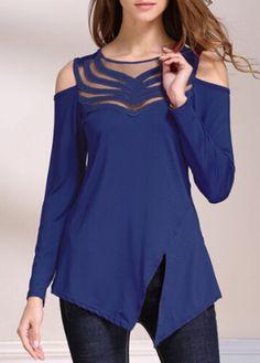 2017 Mode Creux Out Mesh Top Femmes T-shirt Mince D'o-Cou àpaule Dames T-shirts Blue Long Sleeve Tops, Long Sleeve Shirts, Trendy Tops For Women, Asymmetrical Tops, Asymmetrical Design, Dame, Cold Shoulder, Shoulder Tops, Mesh Panel