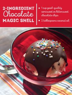 Love the crunchy chocolate topping you get at the ice cream shop? Make Magic Shell at home with this copycat recipe -- it only calls for 2 ingredients. Ice Cream Candy, Ice Cream Treats, Ice Cream Toppings, Ice Cream Recipes, Yummy Treats, Delicious Desserts, Sweet Treats, Frozen Desserts, Frozen Treats
