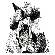 "heikala: "" Inktober day 2, A witch and six owl familiars "" @galaxative"