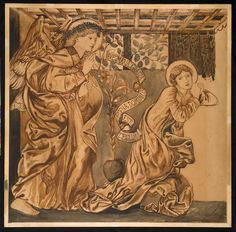 Edward Burne-Jones (1833–1898) 1862 Brown wash, Indian ink, and watercolour over pencil on paper. English: w786 x h788 mm Birmingham Museum and Art