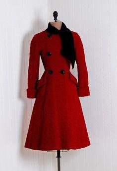 red wool 1940s coat