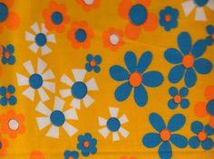 Vintage Fabric: Retro Blue and Orange Flowers