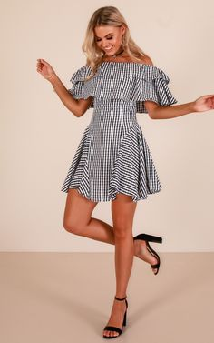 9534e489c81 Place In The Sun Dress In Black Gingham Produced