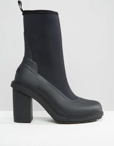 Image 2 ofHunter Original Black High Heeled Sock Short Wellington Boots