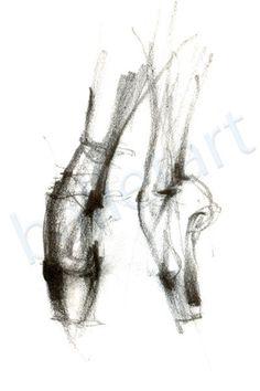 Ballet art, ballet op pointe, art print, potlood tekening, dans kunst, wand decor - artwork - afdrukken van de originele tekening-interieur