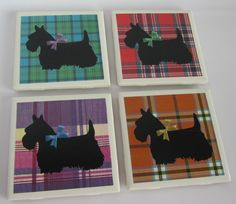 Ceramic tile coasters with black Scottie dogs on a background of tartan plaid. For hot and cold drinks. Water resistant. Makes a great gift. by ThePrimroseCottage on Etsy