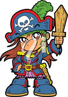 iCLIPART - Clipart Illustration of a Girl Wearing a Pirate Costume #halloween #clipart #illustration