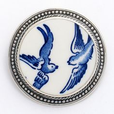 blue willow china   Broken China Jewelry Blue Willow Love Birds Sterling Circle Pin Brooch