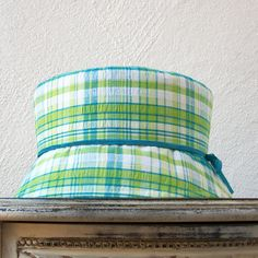 Womens Cloche Hat Blue and Green Cotton Plaid by BkmHattitude, $26.00