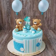 Aprende cómo hacer un osito para decorar pasteles de cumpleaños - Toddler Birthday Cakes, Boys First Birthday Cake, Cute Birthday Cakes, Bear Birthday, Torta Baby Shower, Teddy Bear Cakes, Baby Shower Balloons, Grapefruit Curd, Bubble Cake