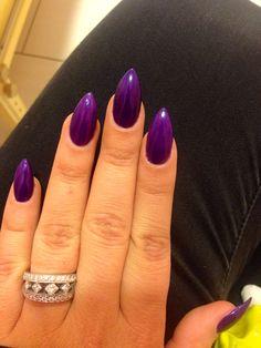 Purple stiletto nails: Love this Color Purple. Deep Royal