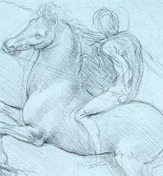 22. A Study for an Equestrian Monument, c.1490, Metalpoint, 18.8 x 15.2 cm