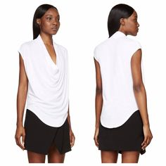 Helmut Lang White Cowl Sleeveless Tshirt- Size 0-2 Helmut Lang Women's White Cowl Kinetic Sleeveless T-Shirt in white semi-sheer modal and pima cotton.  Draped cowl neck collar. Curved shirttail hem.  BRAND NEW- TAG STILL ON Size - P (0-2)  Bundle & Save!!!      Sorry, no trades.   No lowball offers please. Helmut Lang Tops Blouses