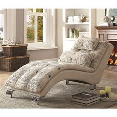 Coaster Accent Seating Chaise Lounger with Chrome Legs