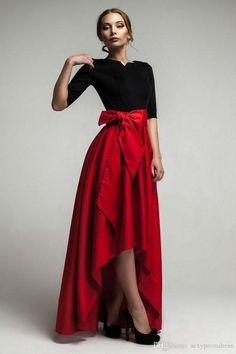 Elegant Red Taffeta High Low Skirts For Woman 2015 New Fashion Waist Belt Floor Length Girls Long Skirts Custom Made Formal Party Dresses Trendy Dresses, Elegant Dresses, Nice Dresses, Short Dresses, Formal Dresses, Maxi Dresses, Party Dresses, Chiffon Dresses, 50s Dresses